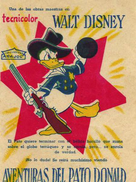 The offending fist-in-the-air of Donald Duck is covered up by the censor